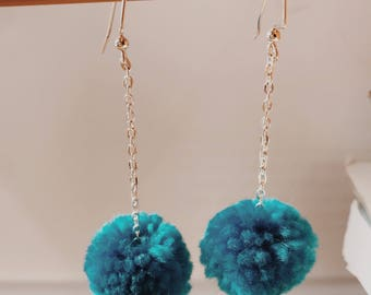 LYDIA Collection Blue Pom Pom Drop Earrings