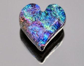 Dichroic Cabochon, Dichroic Heart, Small Glass Heart, Fused Glass Heart, Small Heart Cabochon, Blue, Purple & Magenta Cabochon