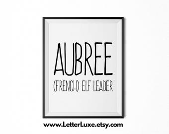 Aubree Name Meaning Art - Printable Baby Shower Gift - Nursery Printable Art - Digital Print - Nursery Decor - Typography Wall Decor