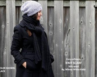 Long chunky knit scarf, long knit scarf, chunky knit scarf, knit winter scarf, chunky knit scarf, black knit scarf,  knit scarves