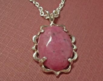 Rhodonite Cabochon Necklace - Pink Rhodonite Cabochon & Sterling Silver Necklace - Vintage Clasp