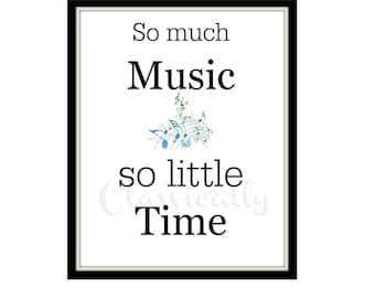 Music Print, 8 x 10 Word Art Print, Music Wall Art, Typography, Musician Print, Musical Notes, Black White Blue