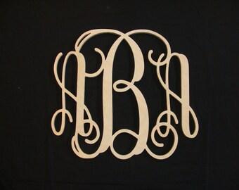 30 INCH Wooden Monogram- Monogram Wall Hanging- Wedding Monogram-Wooden Letters- Nursery Decor- Vine Script Wooden Monogram