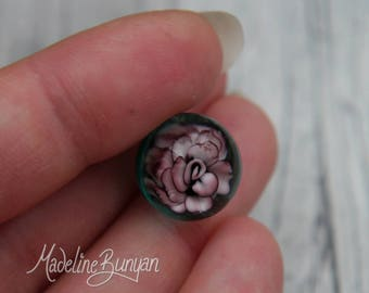 Everlasting mini Purple Mauve Rose Marble, unusual gift, collectible glass art, sphere, lampwork, flower, implosion