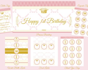 Printable Princess Party Package. INSTANT DOWNLOAD.