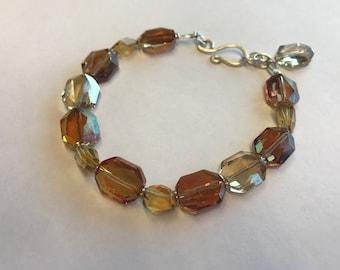 Genuine Citrine and Swarovski Crystal Sterling Silver Bracelet