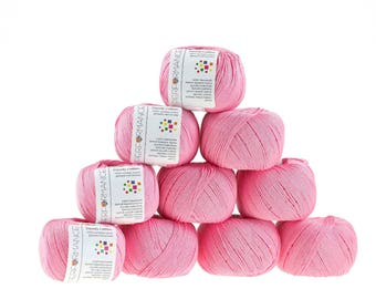 10 x 50g knitted yarn Dainty cotton, #32 Pink