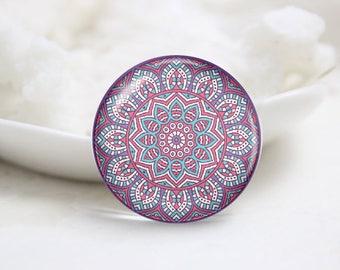 Handmade Round kaleidoscope Photo Glass Cabochons (P3752)