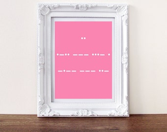 I Love you print, secret message morse code (custom message available)