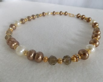 Satin Bronze Rondelle Pearls Necklace - Smokey Crystals - Swarovski Crystal Rondelle - Beaded Necklace - Single Layered Necklace