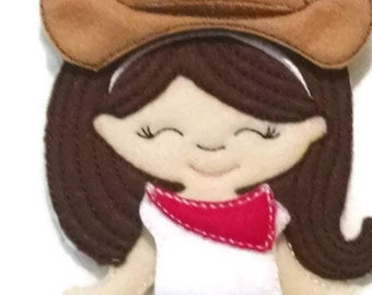 Olivia doll plus cow girl felt outfit , Quiet Game, felt gamel, travel toy,  Felt Favor, Children's Toy #1502