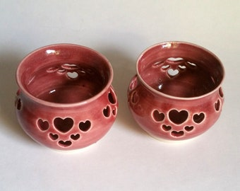 Cranberry Red Votive Candle Holder or Luminary with Heart Cut-outs - Wheel Thrown Pottery
