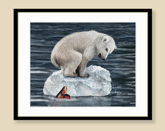 Polar Bear Cub Print - Melting Ice Berg