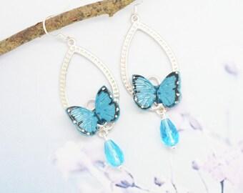 Blue butterflies in polymer clay earrings