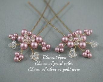 Bridal hair piece. Wedding set of 2 pins. Leaves Hair vines. Ivory gold. Pearl hair pins. Wedding accessories. White pearls. Crystal pins