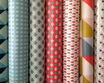 Assortment of 7 different patterns and color coated canvas coupons