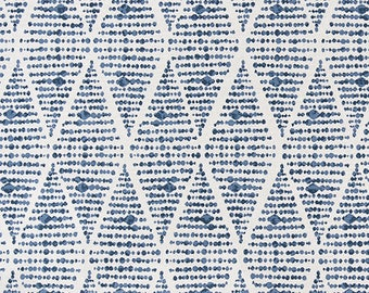 Premier Prints Foster Prussian Blue Flax Home Decor Fabric, Blue Geometric Curtains Material, Modern Upholstery Fabric,