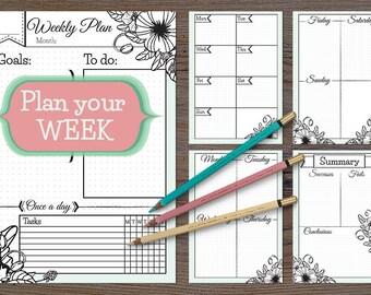 Printable Weekly Planner for bullet journal, printable week planner, weekly planner inserts, bullet journal print, week planner ipad