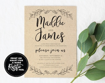 Black and White Wedding Invitation, Modern Botanical Wedding Invite, 5x7 Wedding Invitations, Digital Download