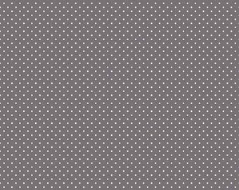 Gray Polka Dot Fabric - Swiss Dot Fabric - Riley Blake Fabric - Grey Fabric - Polka Dot Fabric