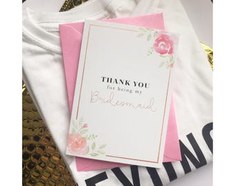 Bridesmaid thank you card - Maid of Honour Thank you Card -Maid of Honor Card - Wedding thank you cards - thank you card