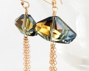 Swarovski Crystal Earrings - Blue Green Crystal Earrings - Gold Crystal Earrings - Gold Chain Tassel Earrings - Gold Crystal Earrings
