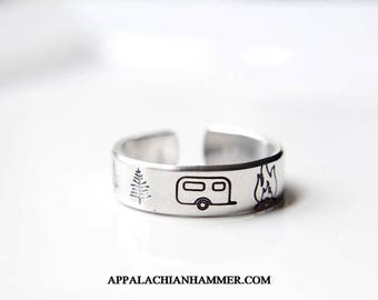 Camping Hand Stamped Ring, Camper, RV, Tent, Nature, Campground, Deer, Trees, Campfire, Bonfire, Outdoors, Glamping, Teepee, Wigwam