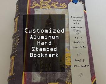 Custom Hand Stamped Aluminum Bookmark - Personalized - Handmade
