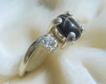 Natural Black Star Diopside Ring in SS