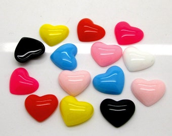 Hearts Colors Plastic 16mm x 13mm Kawaii Decoden Kitsch Flatbacks Cabochons Pastel HC051118