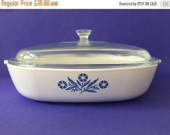 ON SALE Vintage  Corning Ware Blue Cornflower Frypan Roaster Casserole Dish #P 10