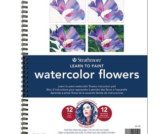 """NEW! Watercolor Flowers - Learn To Paint Pad 9""""X12"""" -  Great for Beginners"""