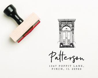 Custom Porch Stamp, Return Address Stamp, Hand Drawn Door Stamp, Newlywed Gifts,  Illustrated Address Stamp, House Warming Gift (SADDR167)