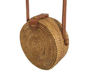Handwoven Small Bali Round Rattan Beach Bag with Button Clip