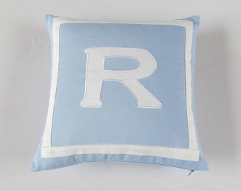 Baby blue letter pillow. baby  blue  monagram  pillow. nursery  pillow.  baby  room  throw  pillow.  custom  made. 12  inch