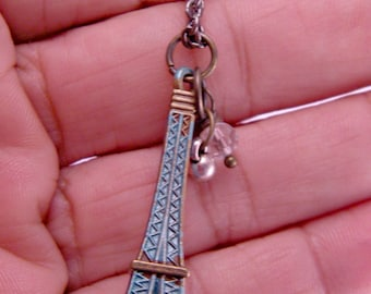 Mini Paris Eiffel Tower with Doodads on 18 Inch Brass Chain