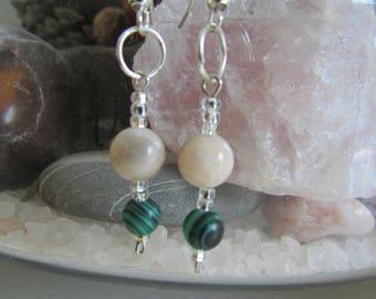 Malachite and Sunstone earrings
