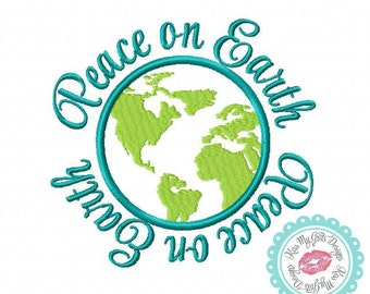 Peace on Earth with World Machine Embroidery Applique Design