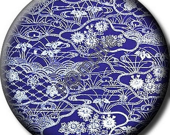 Cabochon resin 25 mm - Asian fabric - (682) stick