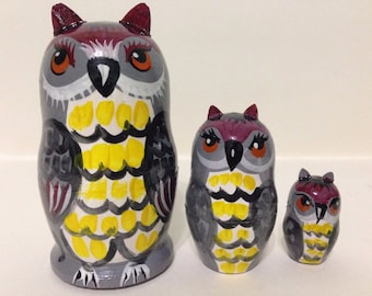 OWLS family -  Unusual nesting dolls set Hand painted in Russia on wood.  Discounted for quick sale. Shipped from USA