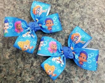 Set of 2 Bubble Guppies 2inches non slip alligator clip cartoon toddler girl