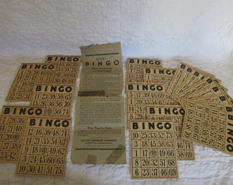 Vintage Bingo Game Cards 18 and Instructions Milton Bradley