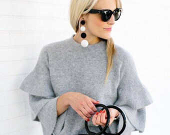 White cord wrapped three balls Les bonbons style Rebecca de Ravenel gumball  earrings ball earrings