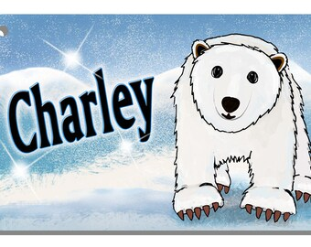 Polar Bear Baby Boy & Girl Bicycle License Plate Personalized Gifts Children Teens Ladies Polar Bears