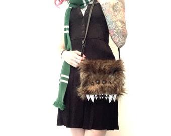 Furry Brown Monster Purse Bag Handbag