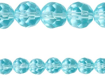 10 x round faceted 8mm TURQUOISE blue glass beads