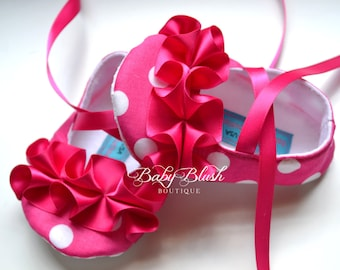 Shocking Pink White Polka Dot Baby Shoes Baby Ballerina Slippers with Ruffles