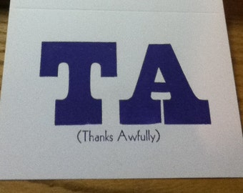 TA (Thanks Awfully) Letterpress Note Cards