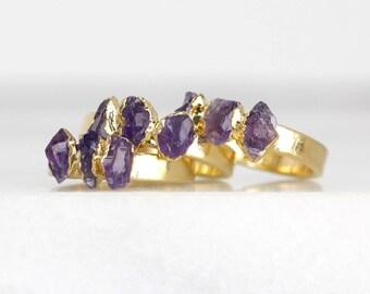 amethyst crystal ring | february birthstone ring | rough amethyst stacking ring raw amethyst ring | natural amethyst birthstone ring
