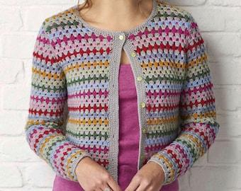 Crochet cardigan, Crochet pattern, Stripy cardigan, Granny trebles, Vintage cardigan, Rainbow stripes, Instant download, Craft, Fran Morgan,